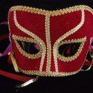 Halloween Mask Red Felt Mardi Gras Costume Party Carnival Ribbons Venetian
