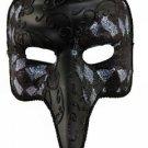 Nasone Venetian Mask Black & Silver Mardi Gras Halloween Costume Masquerade