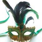 Venetian Eye Mask Feather & Jewel YOUR CHOICE COLOR Mardi Gras Halloween