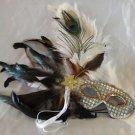 Feather Mask Silver White Ostrich Mardi Gras Masquerade Ball Decor Party Prom
