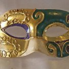 Pierrot Venetian Eye Mask Mardi Gras Costume Ball Party Purple Green Gold Prom