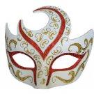 Venetian Eye Mask Swirl Top Red & Gold Prom Mardi Gras Masquerade Costume