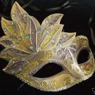 Teen Venetian Mardi Gras Mask Smaller Kid GOLD & BRONZE