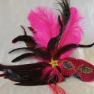 Feather Mask Hot Pink Ostrich Sequin Mardi Gras Masquerade Ball Decor Party Prom