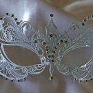 Venetian Eye Mask White Metal & Crystals Mardi Gras Halloween Prom Costume Party