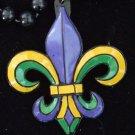 Fleur de Lis Mardi Gras Painted Bead Necklace YOUR CHOICE OF MANY New Orleans