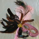 Feather Mask Baby Pink Mardi Gras Masquerade Ball Decor Party Prom Costume