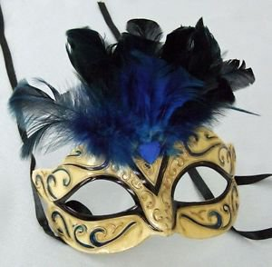 Feather Top Eye Mask YOUR CHOICE COLOR Mardi Gras New Orleans Costume Party