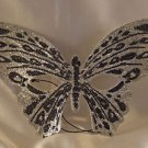 Venetian Mask Butterfly Silver with Black Prom Mardi Gras Masquerade Costume