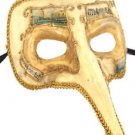 Venetian Mask Zanni Long Nose Ivory & Gold Eyes Mardi Gras Orleans Costume Party