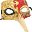 Venetian Mask Zanni Long Nose Red & Gold Mardi Gras Costume Party Prom Drama