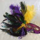 Feather Mask Purple Yellow Ostrich Mardi Gras Masquerade Ball Decor Party Prom