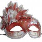 Venetian Mask Cascade Red & Silver Mardi Gras Masquerade Costume Prom Party