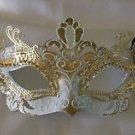 White & Gold Metal Eye Mask Venetian Mardi Gras Costume Party Prom New Orleans