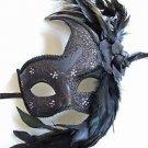 Black Rose Venetian Mask Mardi Gras Masquerade Halloween Prom Costume Orleans