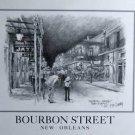 Bourbon Street Don Davey New Orleans Matted Art Print Famous Street Scene