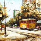 Street Car Bourbon Street Gold New Orleans Baltas Matted Art Print Cajun Creole