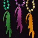 Metallic Gator Bottle Openers Set of Three Mardi Gras Beads New Orleans Party