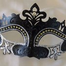Venetian Eye Mask Black & Silver Scroll Mardi Gras Halloween Prom Costume Party