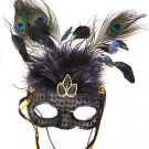 Venetian Black Sequin Feather Mask with Streamers Mardi Gras Costume Prom