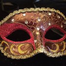 CRESCENT Venetian Mardi Gras Mask CHOCOLATE & CRIMSON Mardi Gras Prom Party
