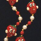 Smiling Stawberry Necklace Medallion Bead Style 1