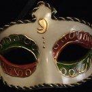 Venetian Mask Mardi Gras Costume Ivory Red Green Gold
