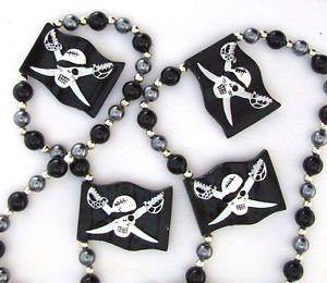 Black Pirate Flag Mardi Gras Bead Necklace Spring Break Cajun Carnival Festival