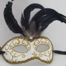 Venetian Eye Mask Feather Top YOUR CHOICE COLOR Mardi Gras New Orleans Party