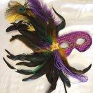 Purple Feather Stick Mask Masquerade Ball Decor Mardi Gras Party Halloween Prom
