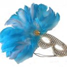 Feather Mask Silver with Blue Feathers Mardi Gras Masquerade Ball Decor Party