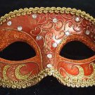 CRESCENT Venetian Mardi Gras Mask CRIMSON & GOLD Party Mardi Gras Prom Party