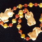 Hear See Say No Evil Pig Mardi Gras Bead Necklace New Orleans Pigs Parade