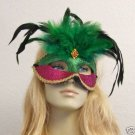 Crimson Green Glitter Feather HALLOWEEN Mask Costume