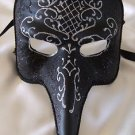 Pulcinella Venetian Mask Black & Silver Mardi Gras Prom Halloween Costume Party