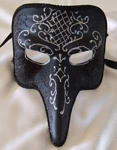 Pulcinella Venetian Mask Black & Silver Mardi Gras Prom Halloween Costume Party