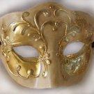 Venetian Mask Ivory & Gold Medici Half Face Mardi Gras Men Masquerade Prom