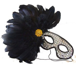Feather Mask Silver with Black Feathers Mardi Gras Masquerade Ball Decor Party