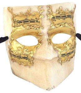 Mask Mardi Gras El Medico Ivory Gold Music Costume Drama Italy Prom Party