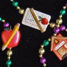 School Days Ruler Red House Mardi Gras Bead Necklace