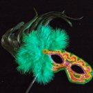 Mardi Gras Colors Green Feather Mask Masquerade Costume