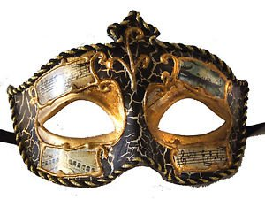Venetian Eye Mask Black Music Antique Prom Party Mardi Gras Masquerade Costume