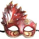 Venetian Mask Cascade Red & Gold Mardi Gras Masquerade Costume Prom Party