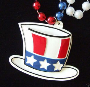 American Flag Top Hat Patriot Necklace New Orleans Mardi Gras Tea Party USA
