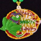 FROG JESTER HAT TONGUE HAPPY Mardi Gras Necklace Beads