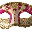 Venetian Eye Mask Purple & Ivory Costume Prom Party Mardi Gras New Orleans
