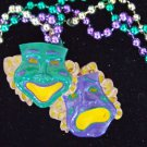 Comedy & Tragedy Mask New Orleans Mardi Gras Bead Necklace Drama Theatre Play