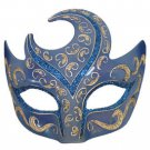 Venetian Eye Mask Swirl Top Blue with Silver Prom Mardi Gras Masquerade Costume