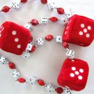 Red Fuzzy Dice Craps Mardi Gras New Orleans Beads Necklace Party Casino