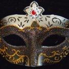 Portofino Costume VENETIAN Mask Black & Gold Red Jewel